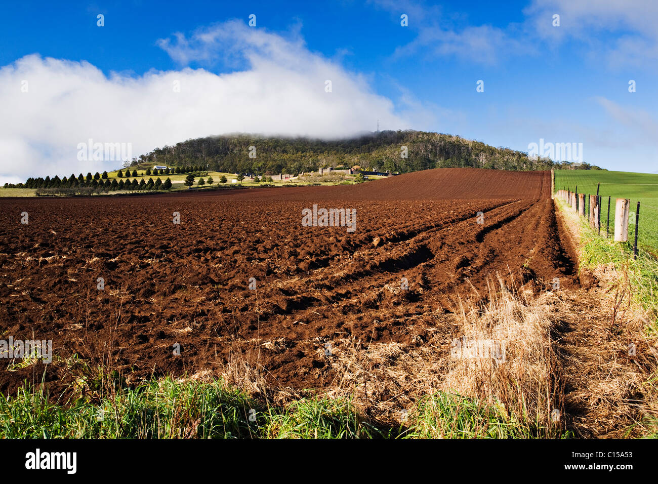 A freshly plowed field at Warrenheip which is located near the regional city of Ballarat in Victoria Australia. - Stock Image