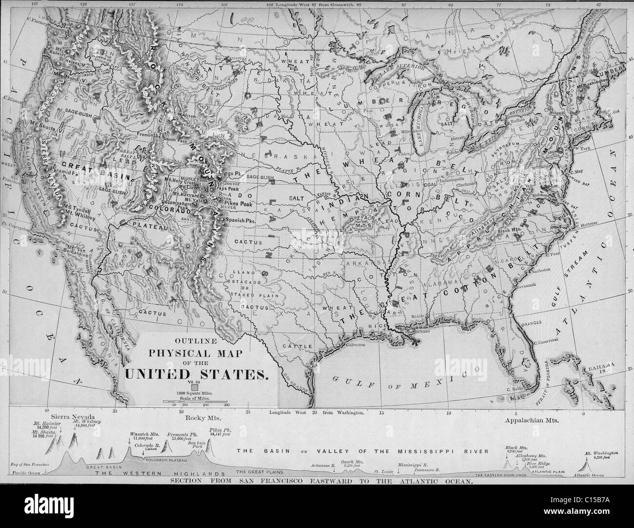 United States Maps Old Stock Photos United States Maps Old Stock - Old-map-of-us
