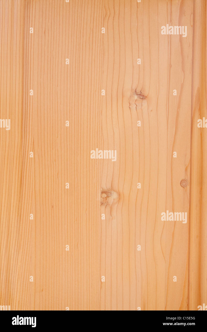 Spruce wood floor detail with knotted texture - Stock Image