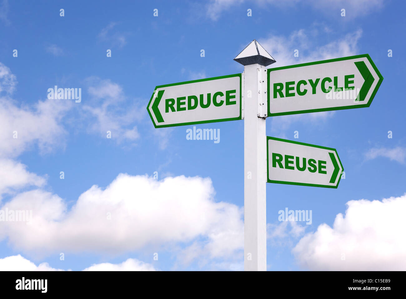 Recycling concept image of a signpost with the 3 Rs in green text on the directional arrows, Reduce, recycle, reuse. - Stock Image