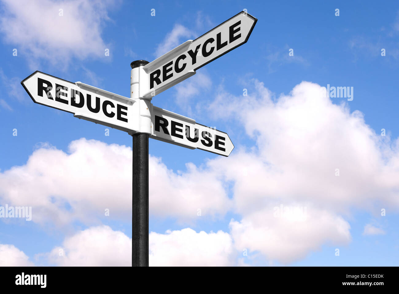 Recycling concept image of a signpost against a sky background with the 3 Rs on the directional arrows, Reduce, - Stock Image
