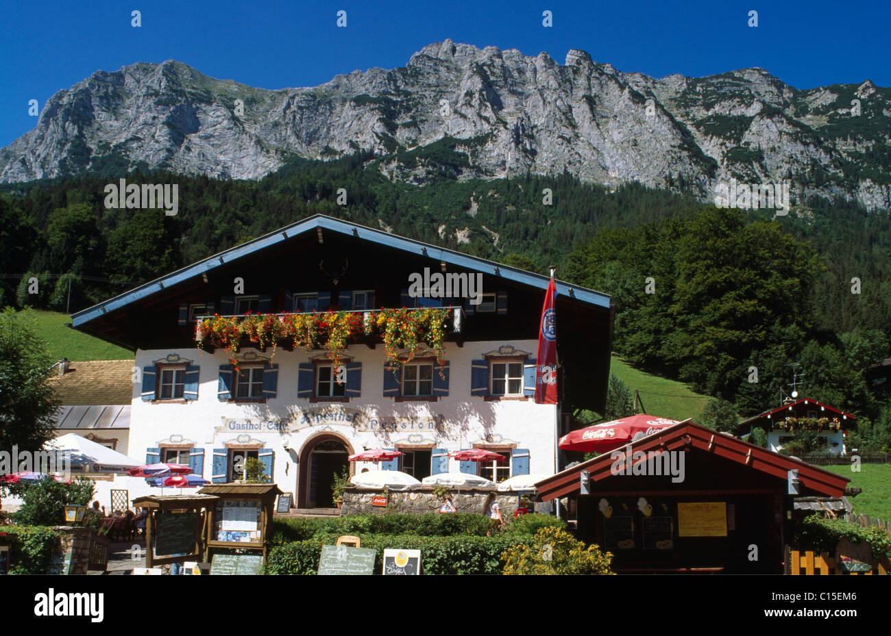 Alpenhof Inn in Hintersee, Ramsau, Berchtesgadener Land or County, Bavaria, Germany, Europe Stock Photo