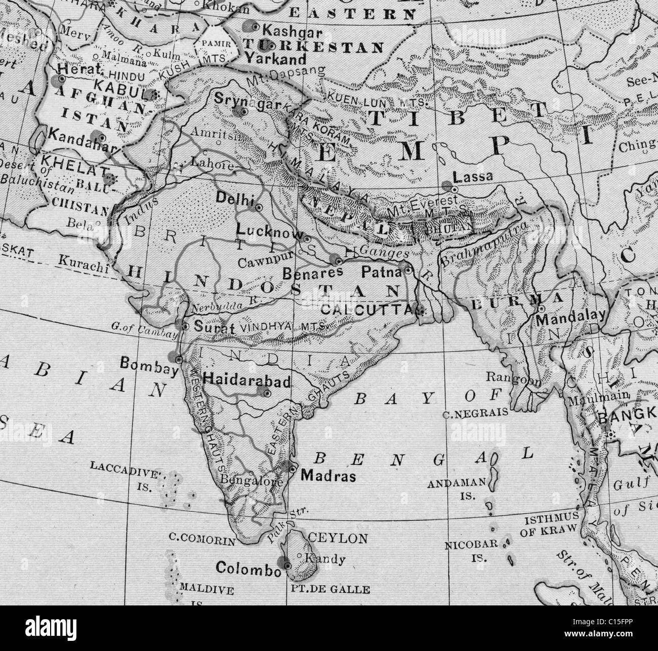 Old map of india stock photos old map of india stock images alamy old map of india from original geography textbook 1884 stock image gumiabroncs