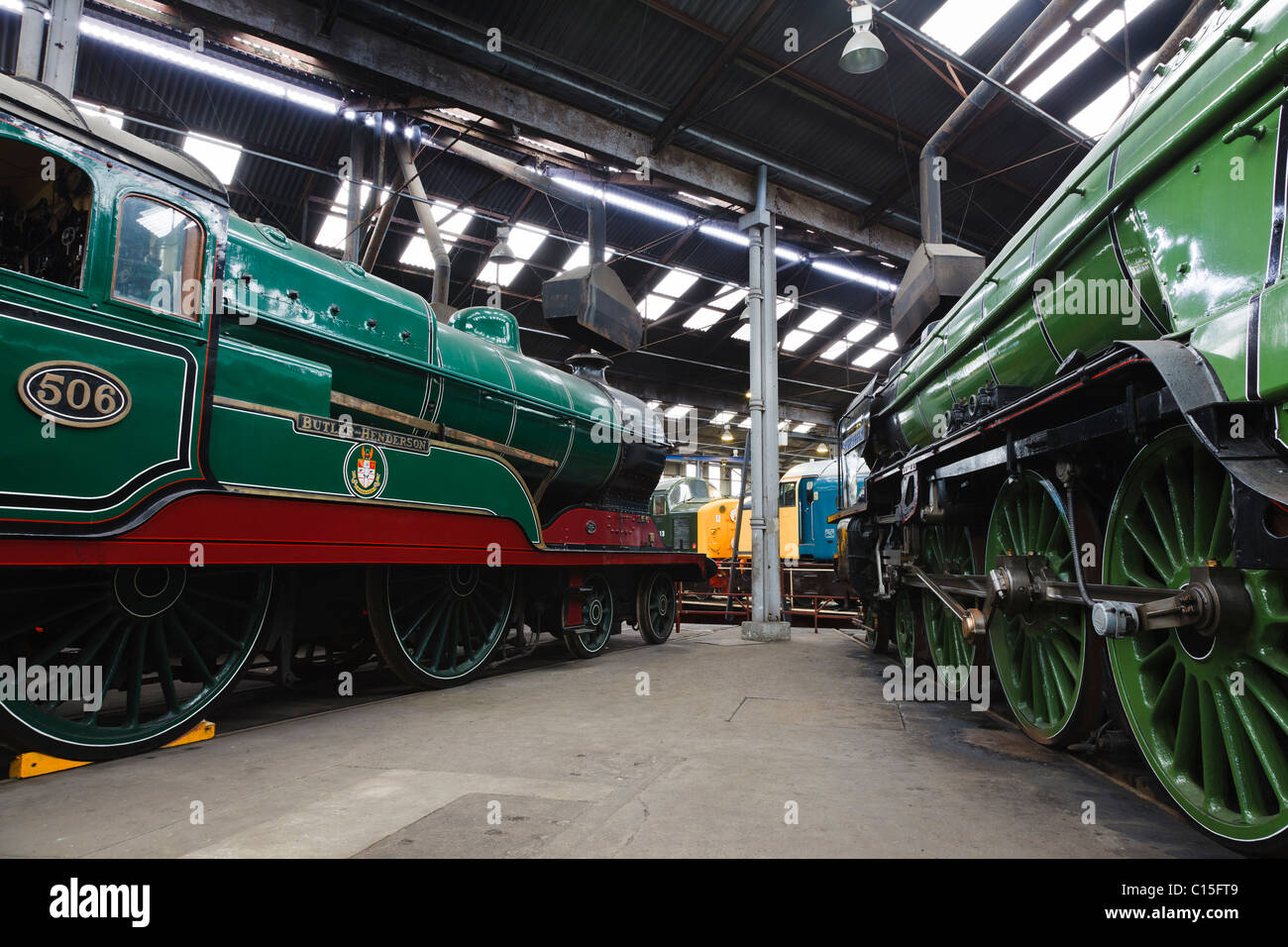 Steam engines at the Barrow Hill Roundhouse museum, near Chesterfield, Derbyshire, England - Stock Image