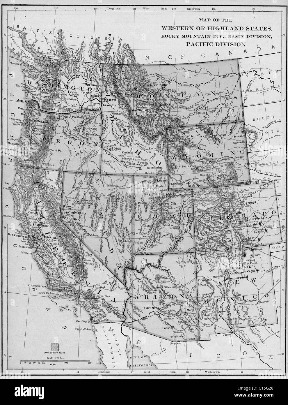 Old map of western United States from original geography ...