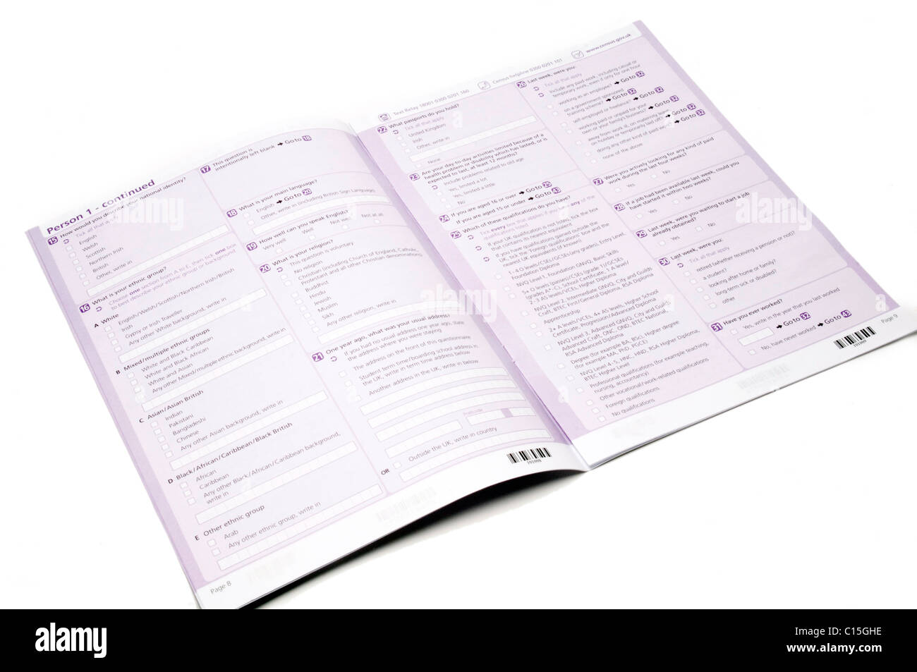 census national office for statistics form forms filling in pen details information data statistics government survey - Stock Image
