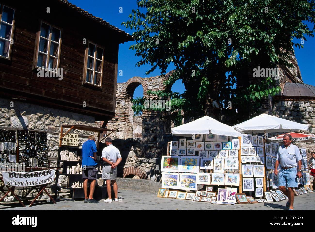 Sales booths, vendors, Nessebar, Black Sea, Bulgaria, Southeastern Europe - Stock Image
