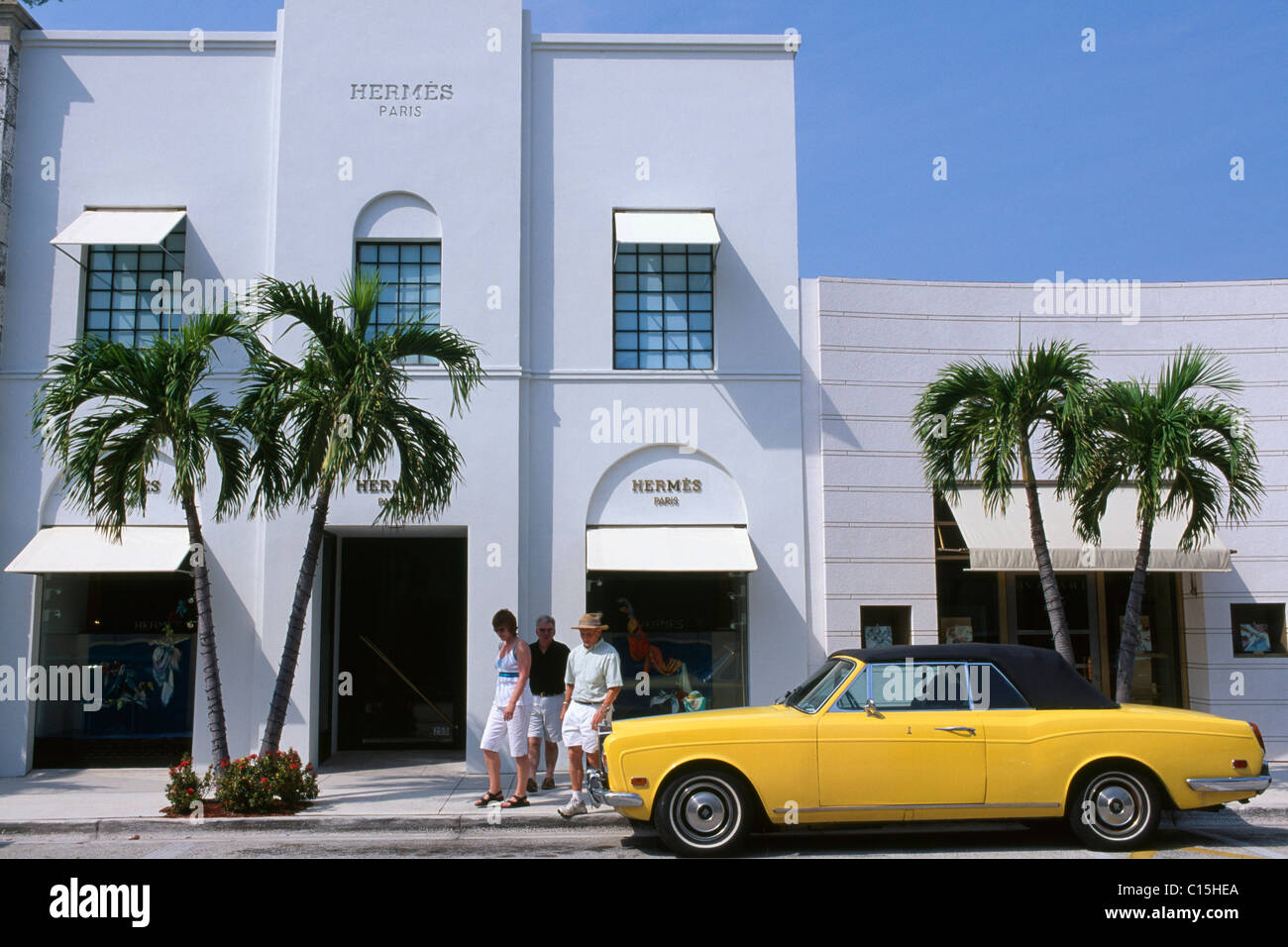 Hermes boutique, shopping district, Palm Beach, Florida, USA Stock Photo