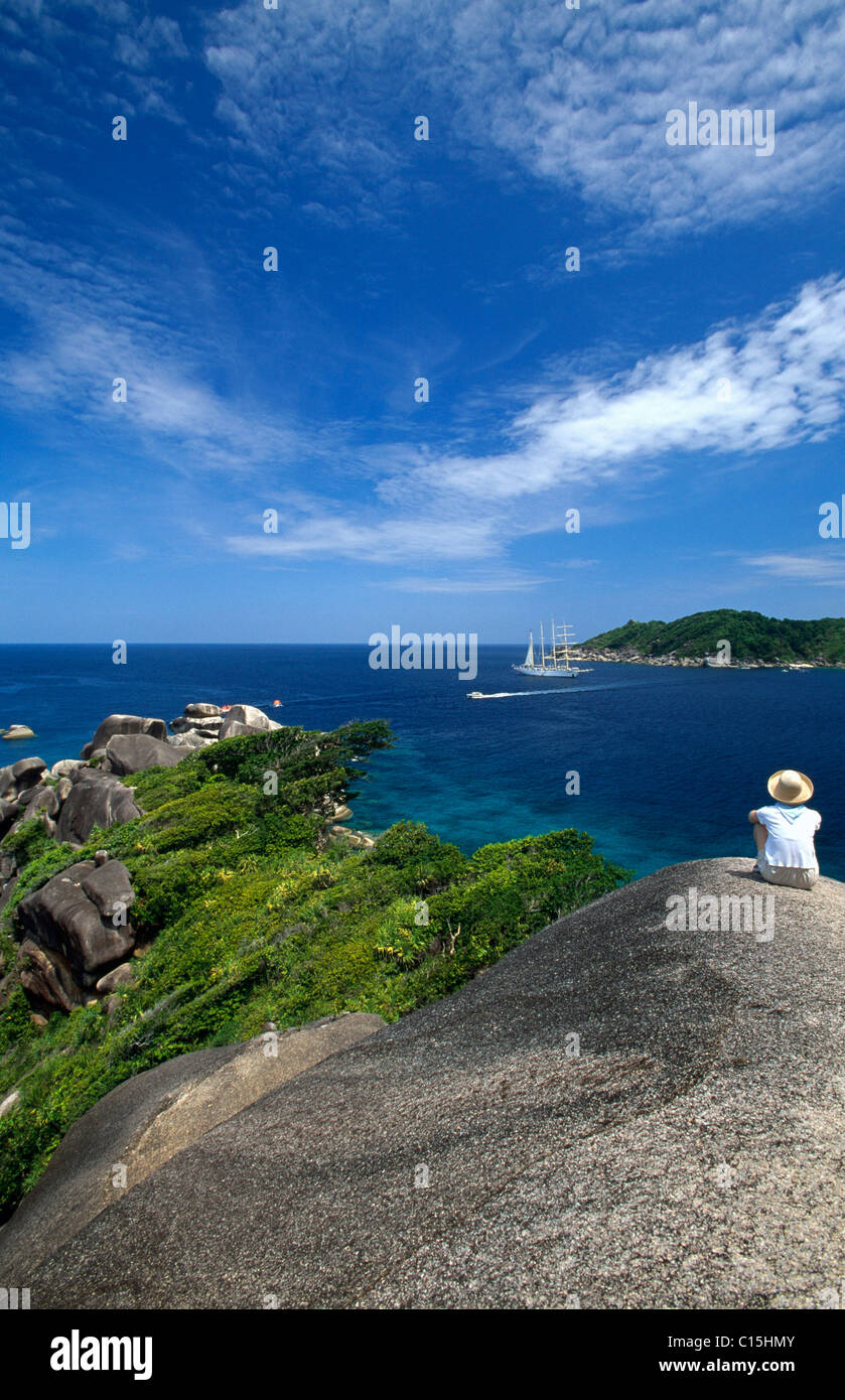 View of a cruise sailing ship off Koh Similan near Phuket, Thailand, Southeast Asia Stock Photo