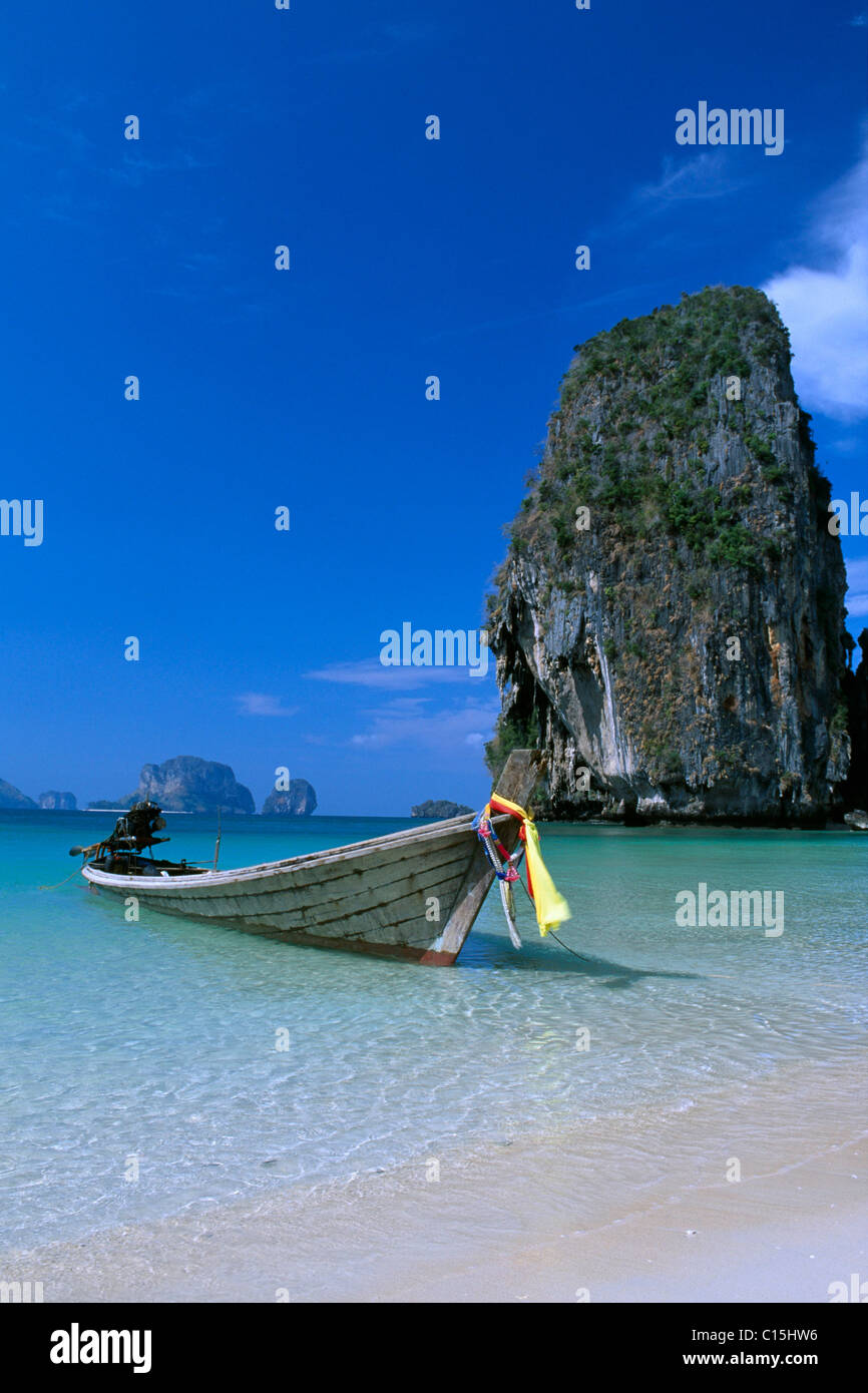 Long-tail boats on Phra Nang Beach, Krabi, Thailand, Southeast Asia - Stock Image