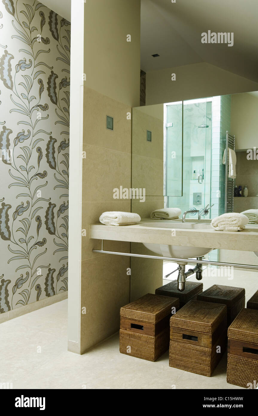 Storage baskets underneath basin in bathroom with floral patterned wallpaper - Stock Image