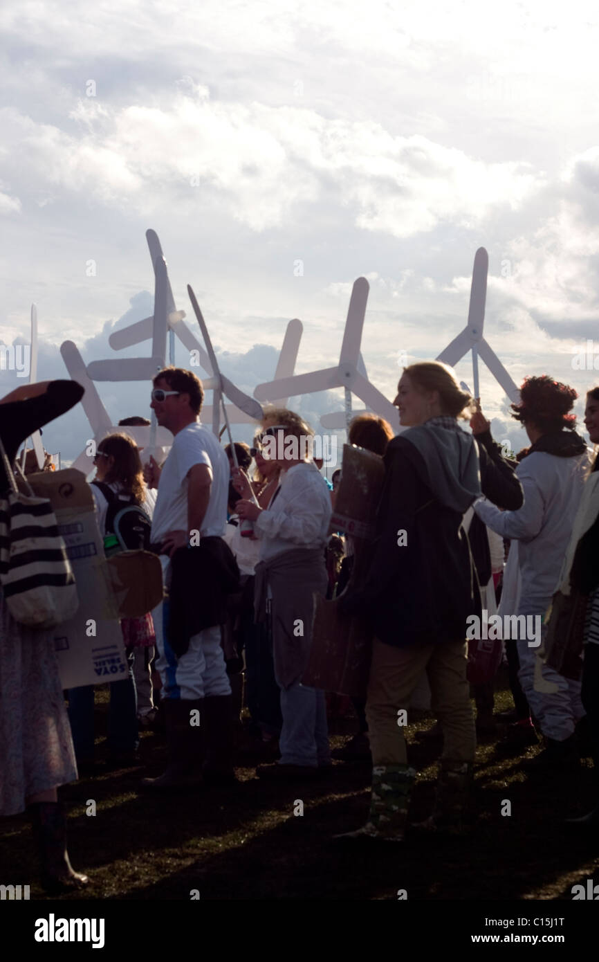 Earth Wind Air Fire precession at Shambala music and arts festival - Stock Image