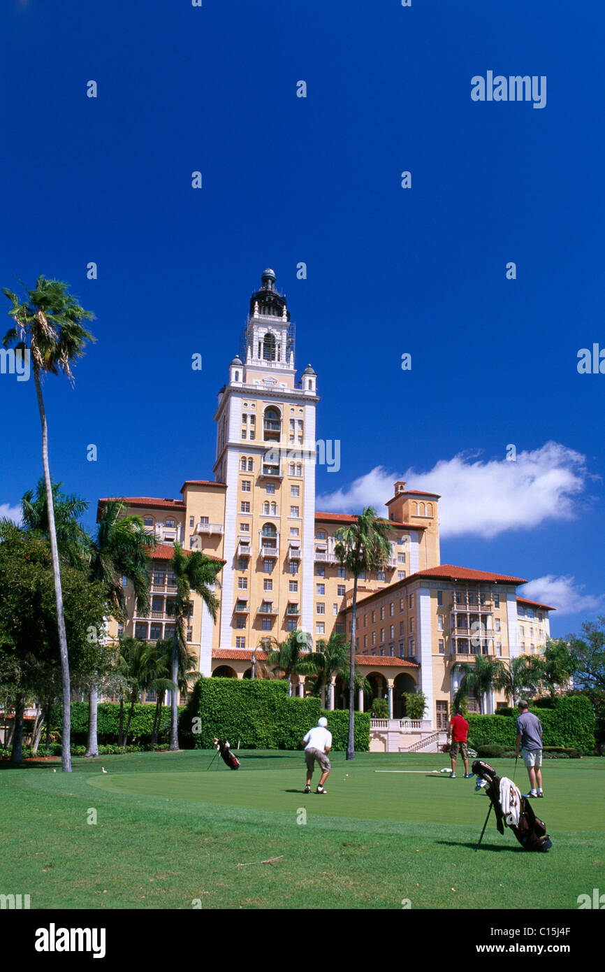 Golfers in front of the Biltmore Hotel, Coral Gables, Miami, Florida, USA - Stock Image