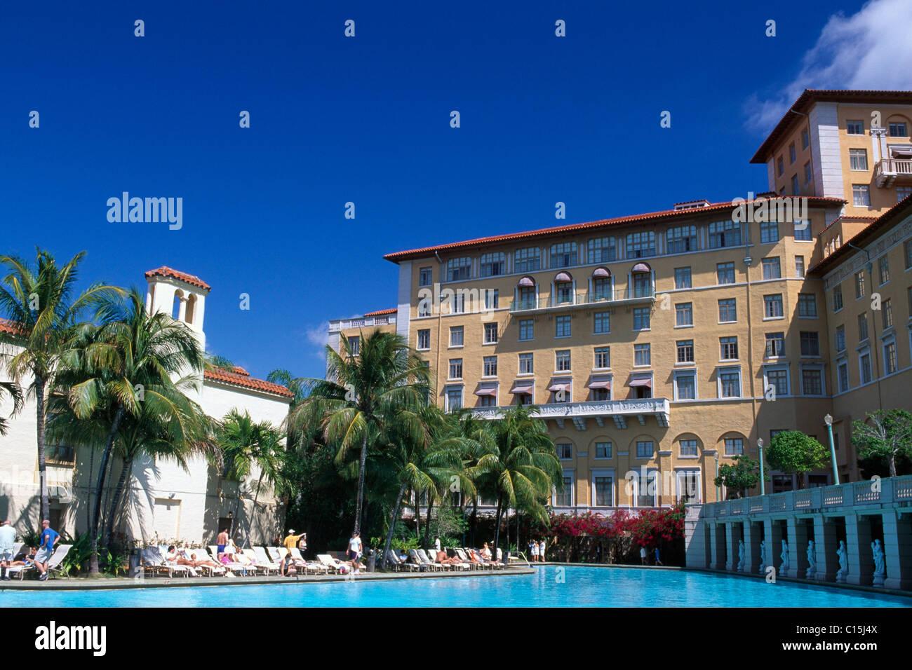 Biltmore Hotel swimming pool, Coral Gables, Miami, Florida, USA - Stock Image