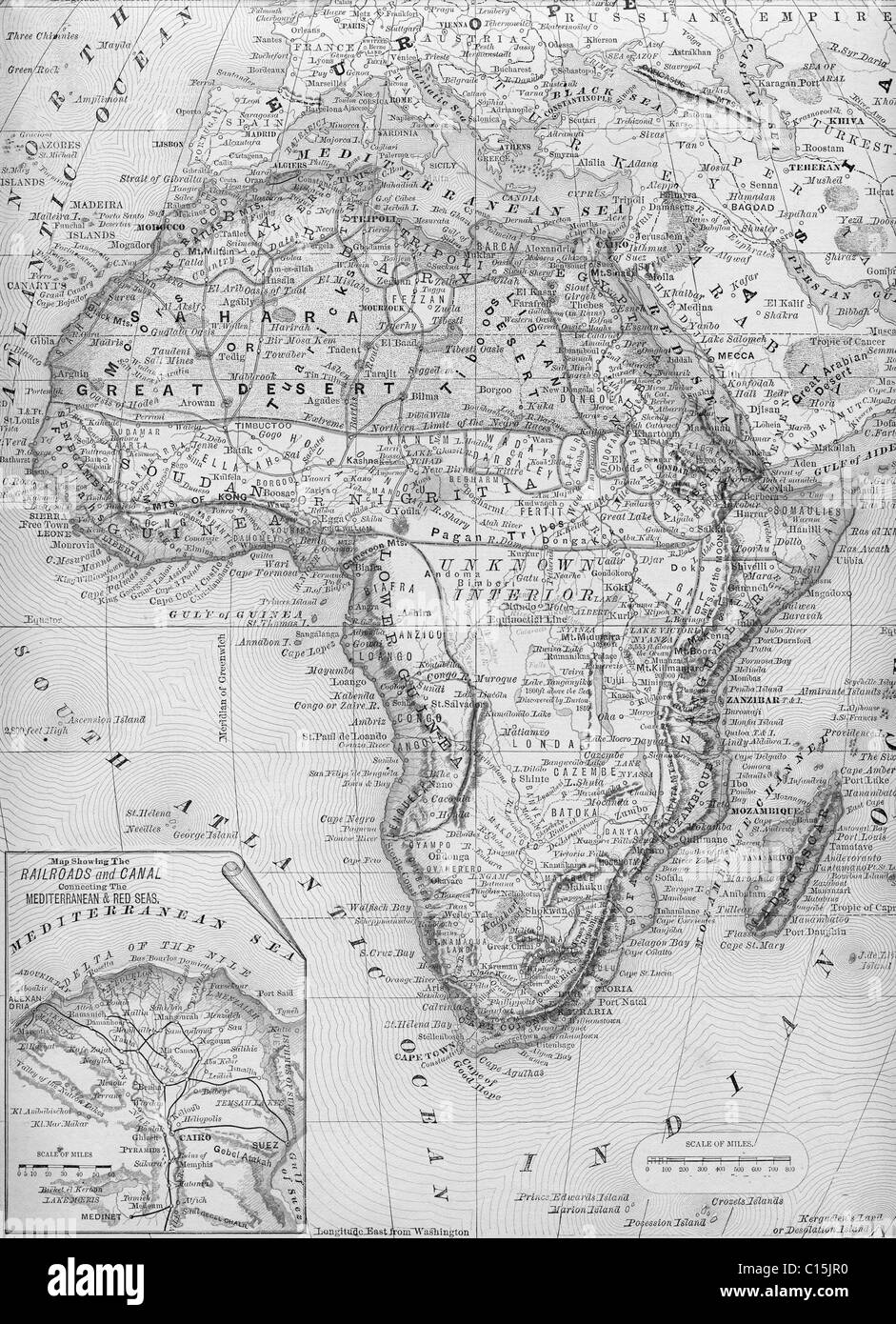 Old map of Africa from original geography textbook, 1884 Stock Photo ...