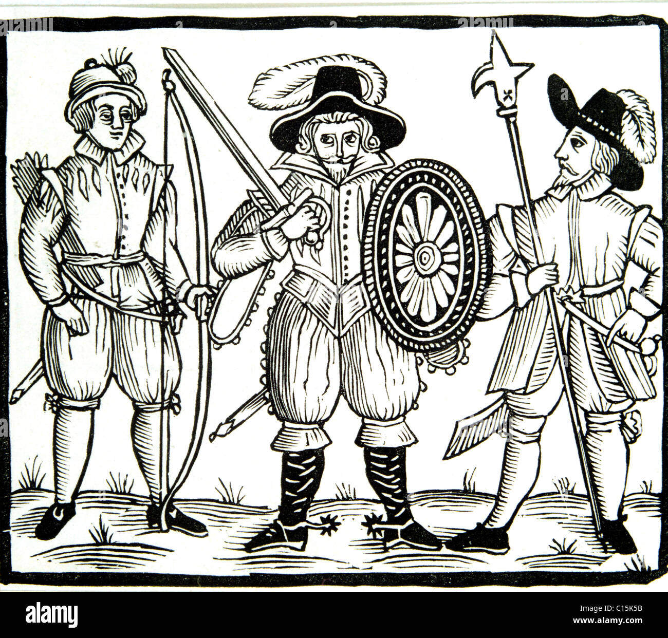 Early representation of Robin Hood, Will Scarlet and Little John from a 17th cent. Ballad. - Stock Image
