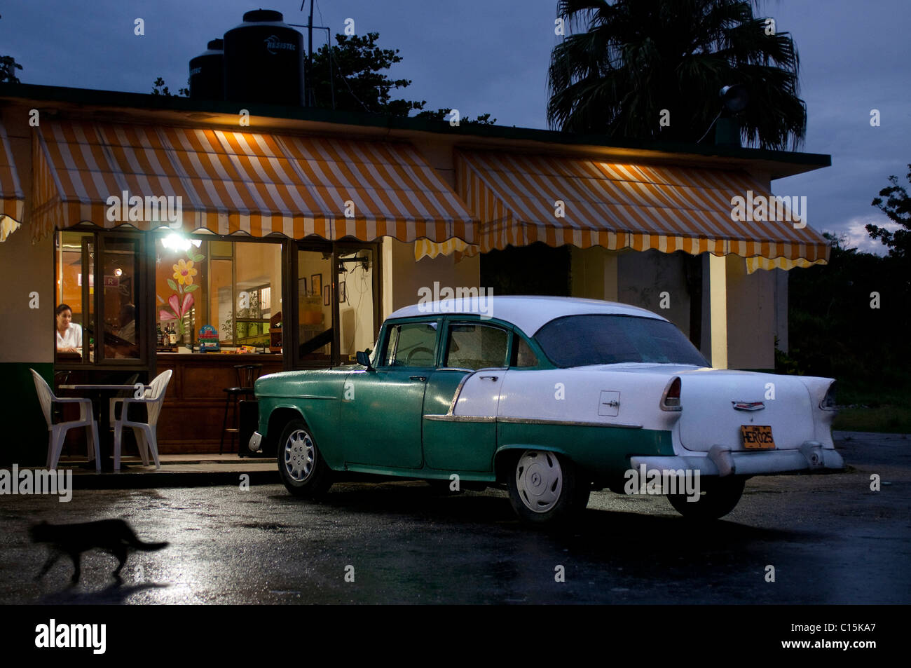 Classic american car outside bar, Matanzas, Cuba - Stock Image
