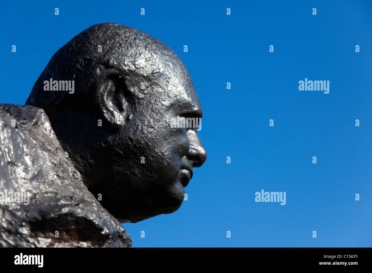 Detail of statue of Sir Winston Churchill by Oscar Nemon on the Green at Westerham, near Chartwell, Kent, UK - Stock Image