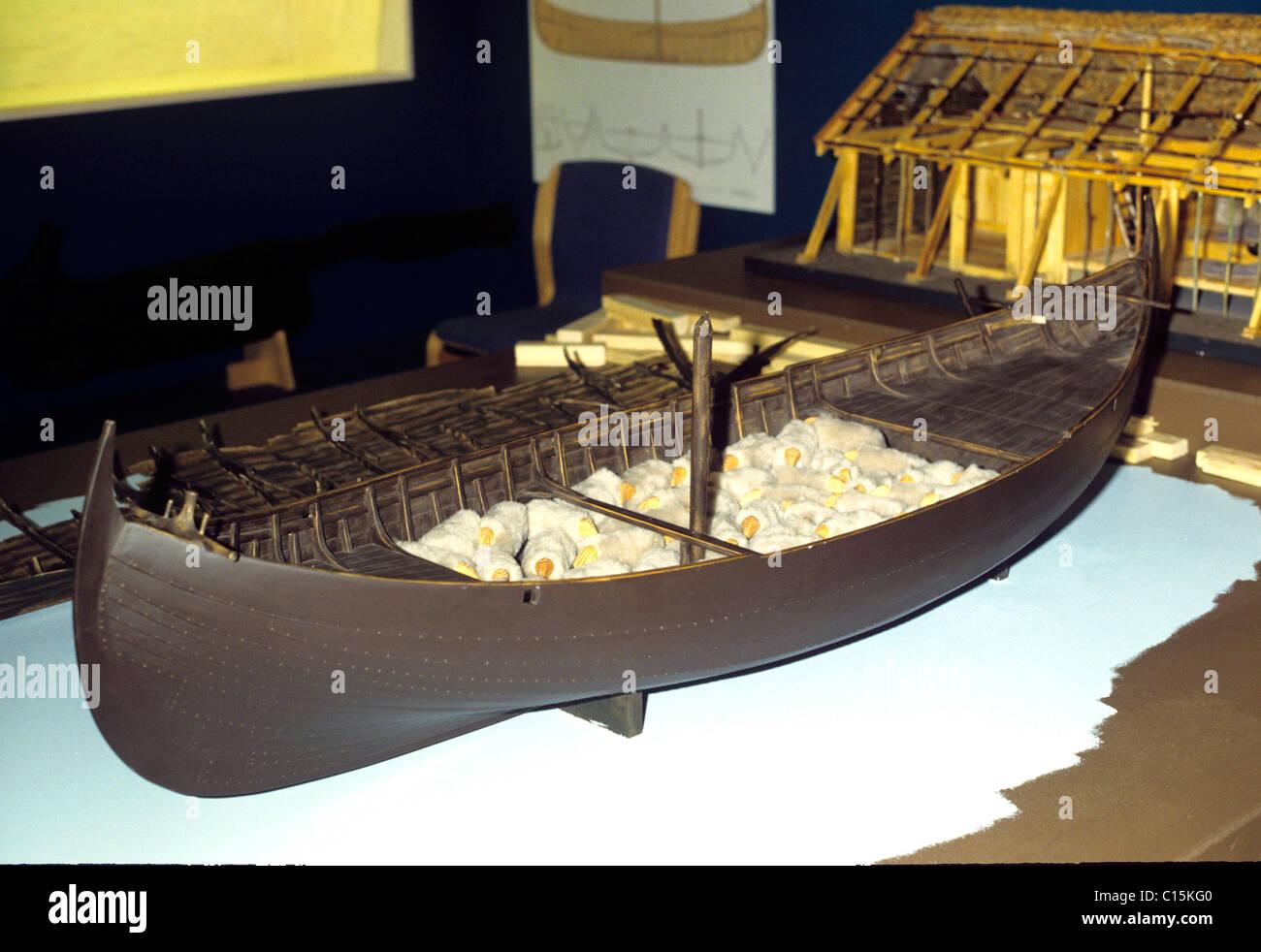 Model of a Viking ship. carrying sheep. - Stock Image
