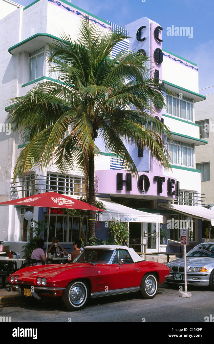 Colony Hotel, Ocean Drive, Miami, Florida, USA - Stock Image
