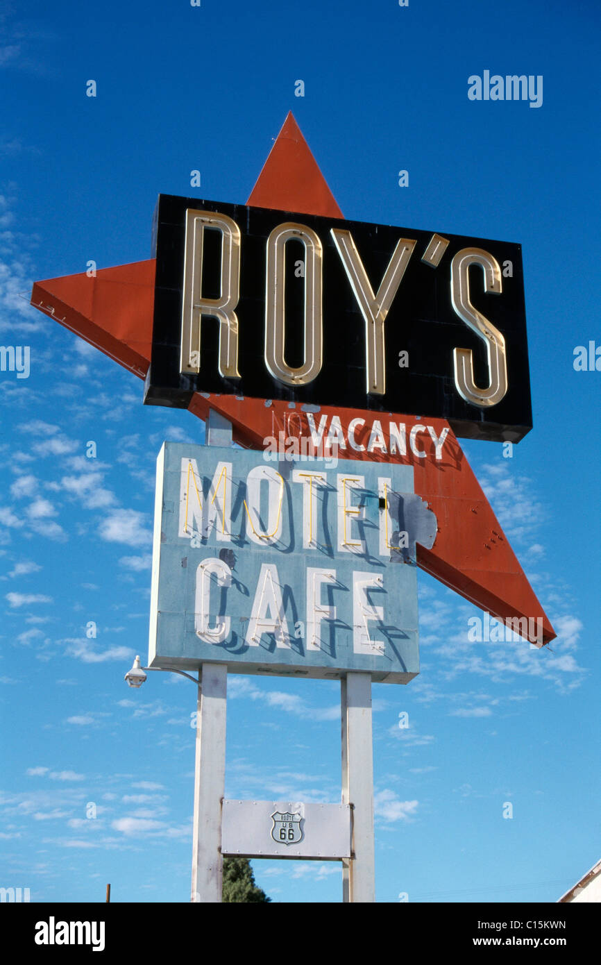 Neon motel sign, vacancy, California, USA - Stock Image