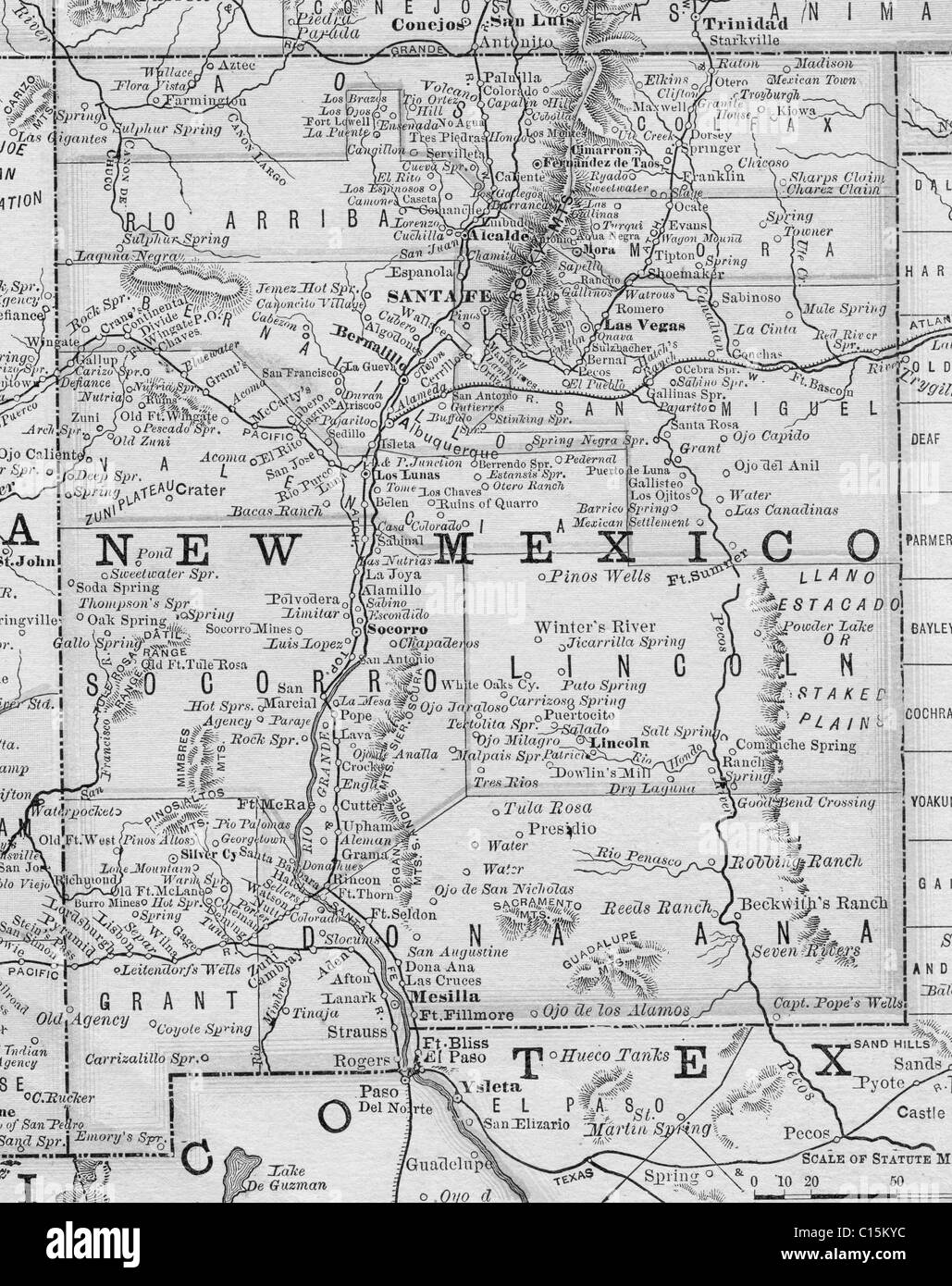 Old map of New Mexico from original geography textbook, 1884 Stock ...