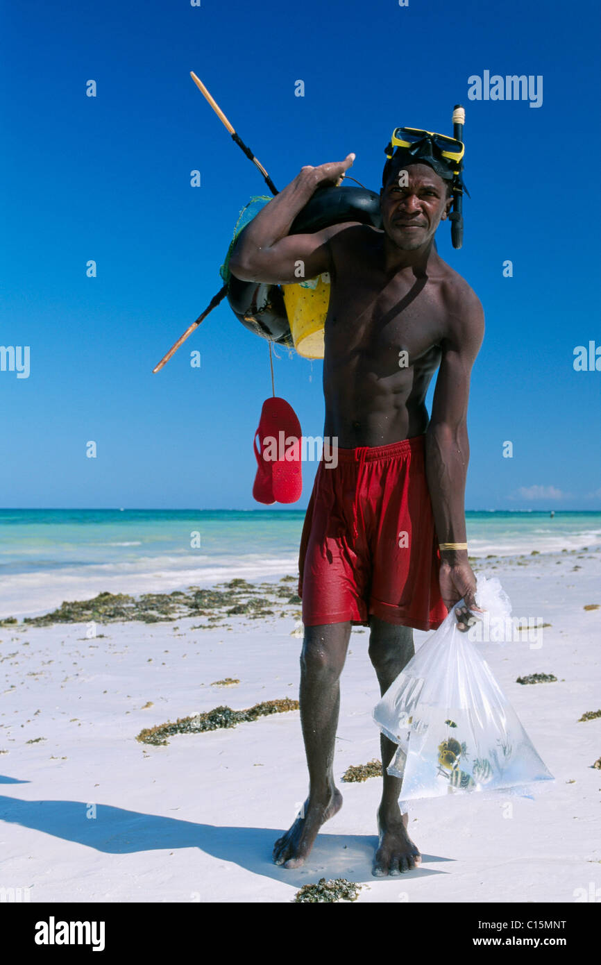 Local diver on Diani Beach, Kenya, Africa - Stock Image