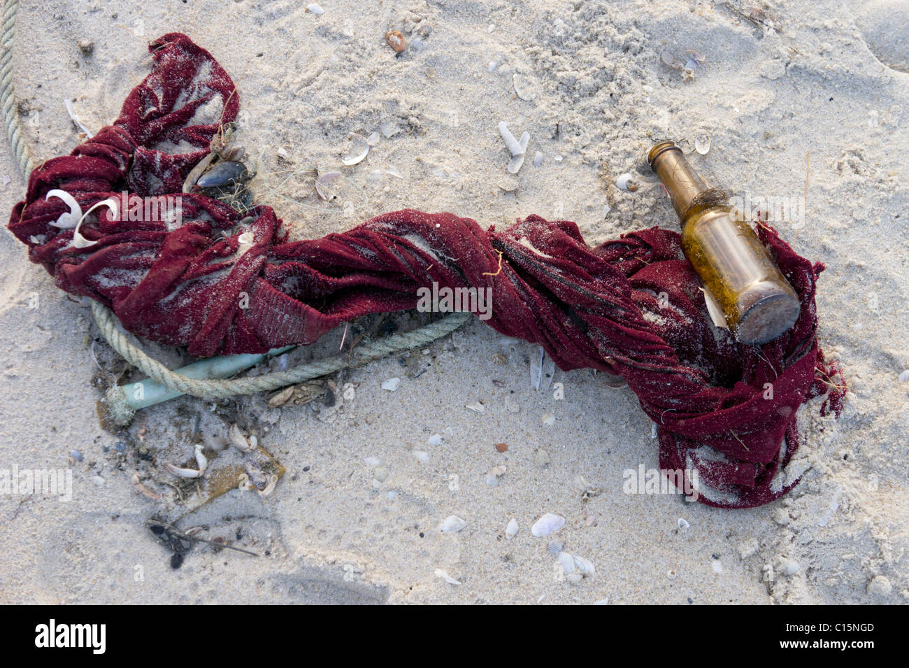 Polluted beach - Stock Image