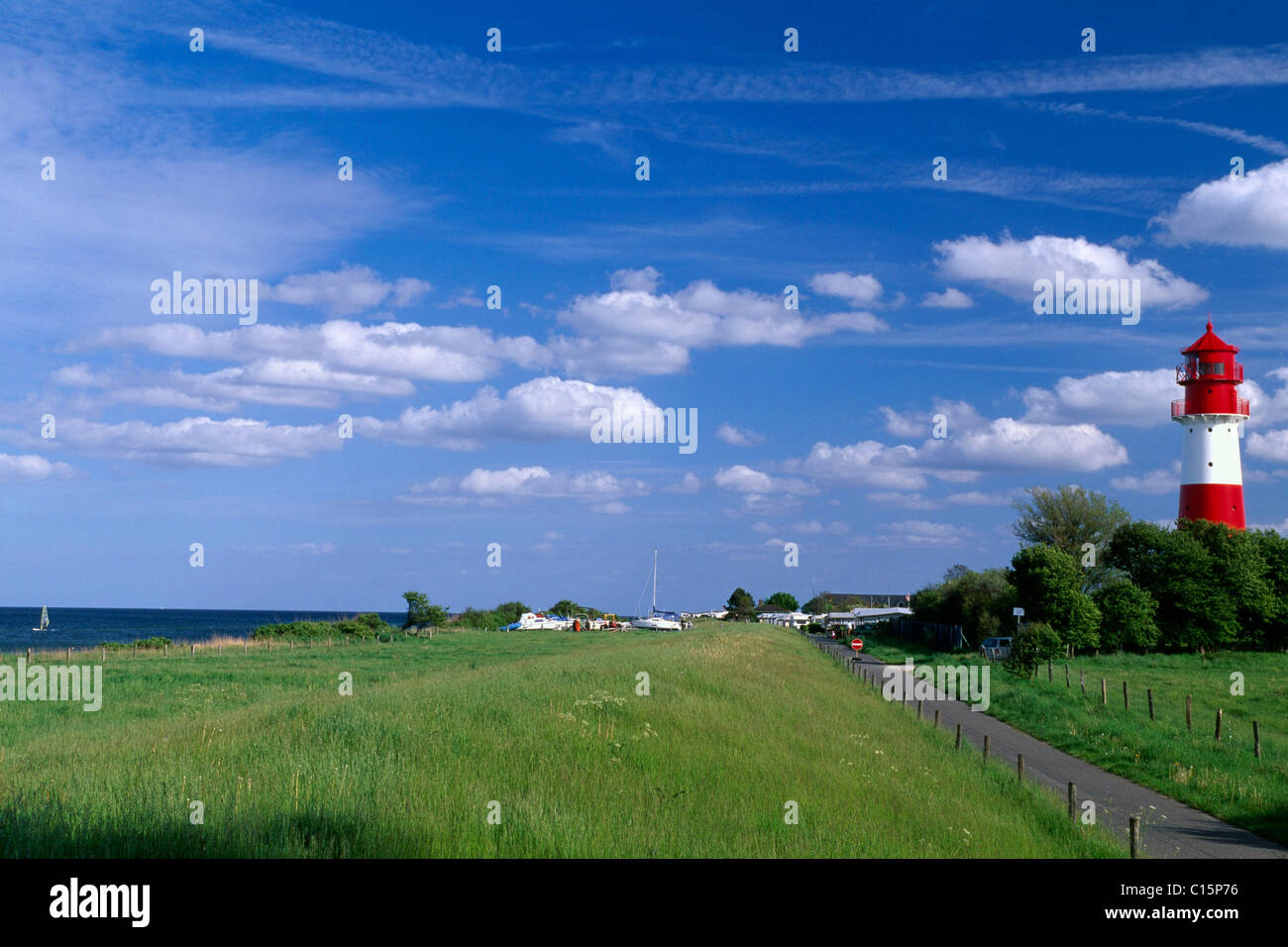 Lighthouse behind the Pommerby beach, Angeln, Schleswig-Holstein, Germany, Europe - Stock Image
