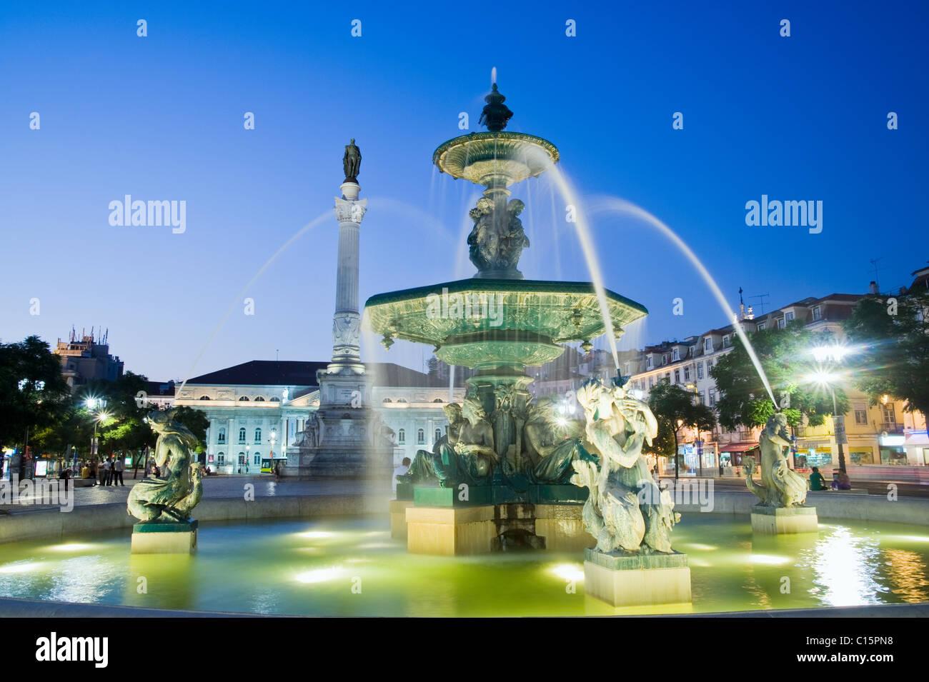 Praca do Pedro IV square (Rossio Square), Lisbon, Portugal - Stock Image