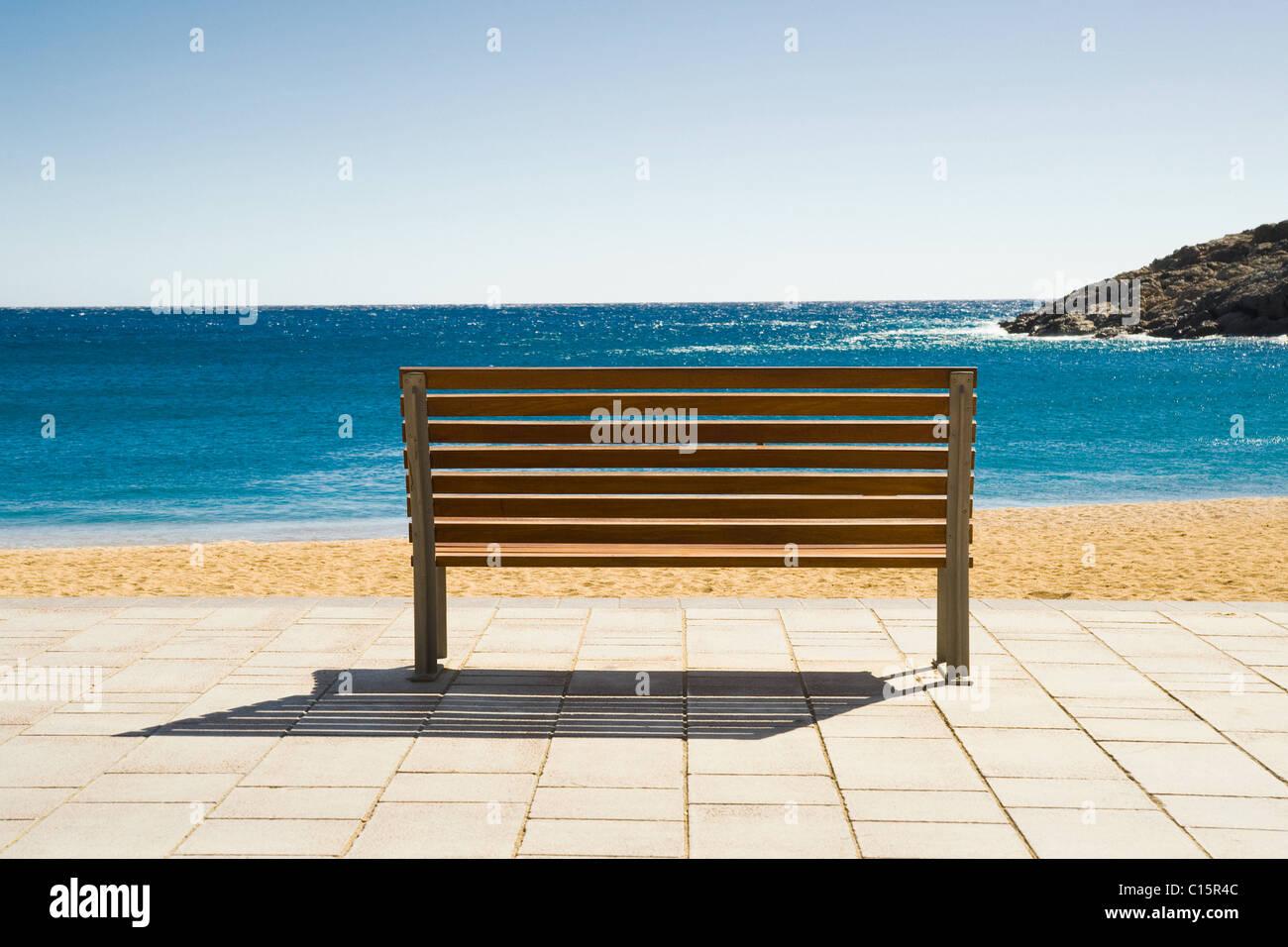 Empty Bench, Tamariu, Costa Brava, Catalonia, Spain - Stock Image