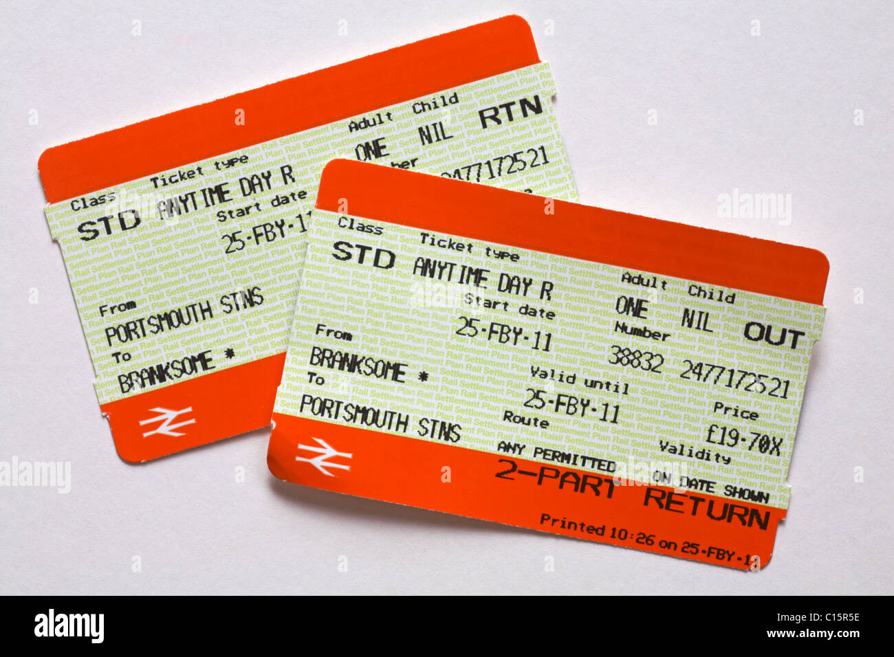 return train tickets - outward ticket on top - Stock Image