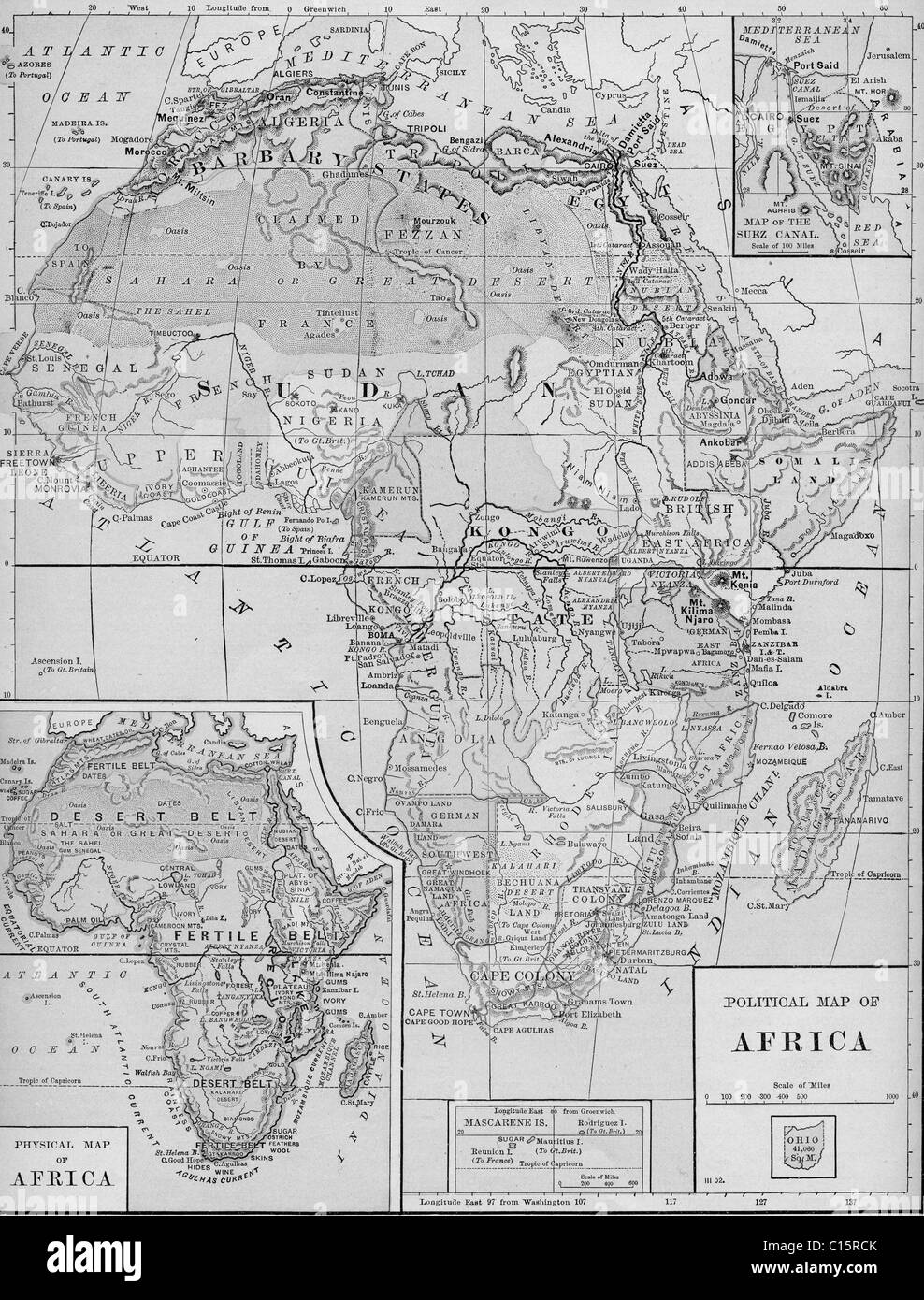 Old map of Africa from original geography textbook, 1903 Stock Photo ...