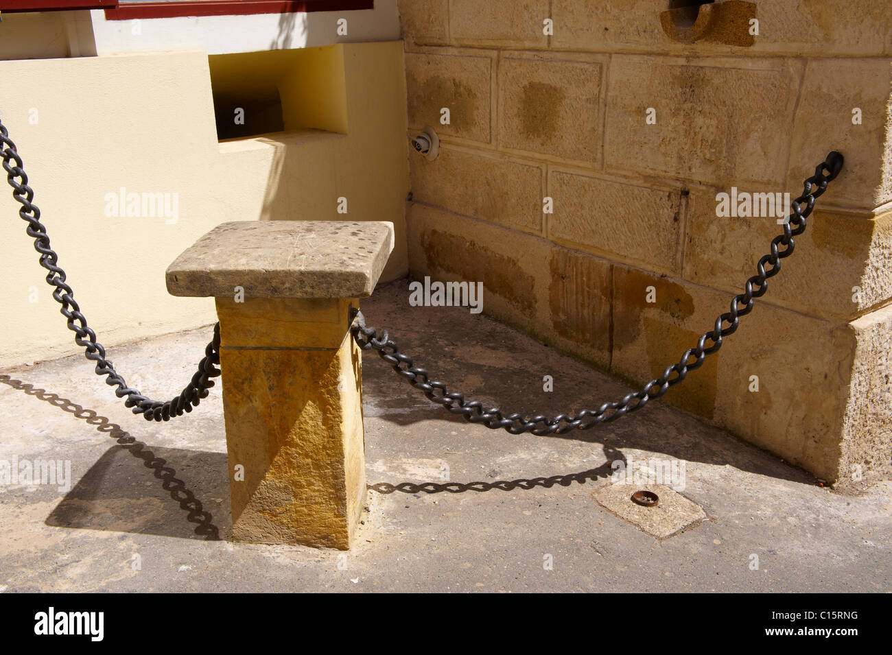 Chains from HMS Victory Placed here in 1878 by the Craoatian Navigator of HMS Victory, Zagreb, Croatia - Stock Image