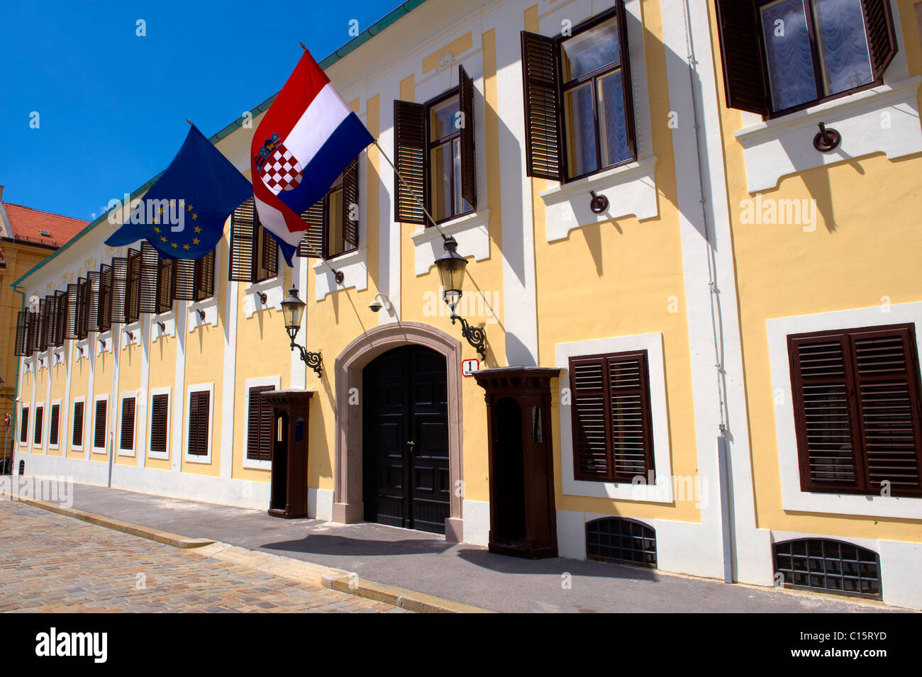 Government buildins fo Gornji Grad, St. Mark's Square, Zagreb, Croatia - Stock Image