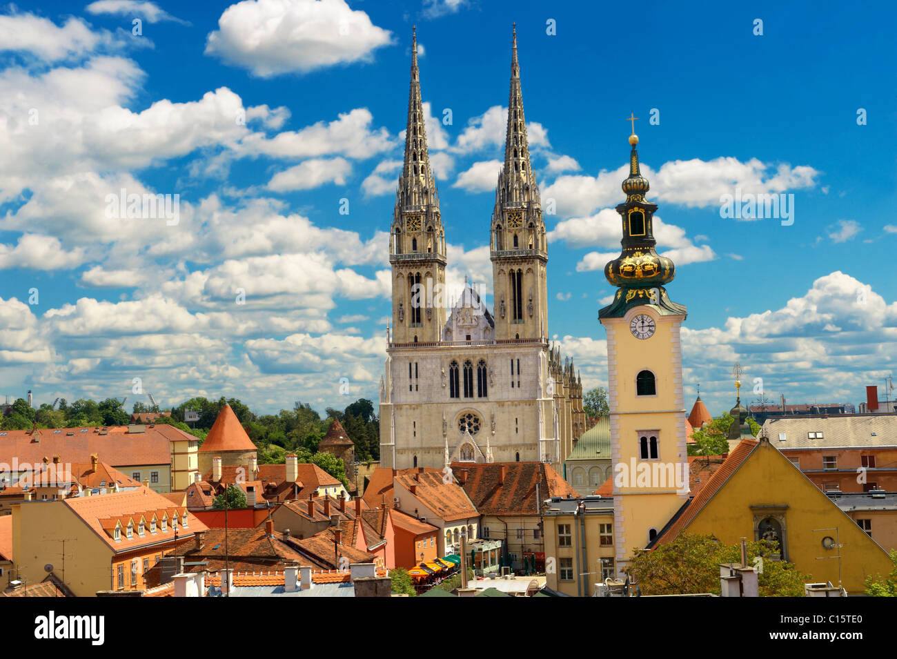 The Neo Gothic Cathedral of the Assumption of the Blessed Virgin Mary, Zagreb, Croatia Stock Photo
