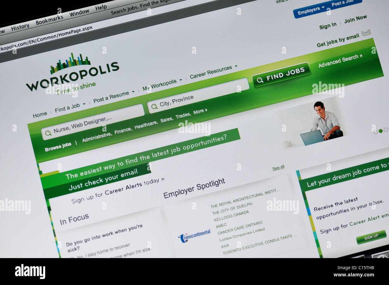 Workopolis website - jobs search engine - Stock Image