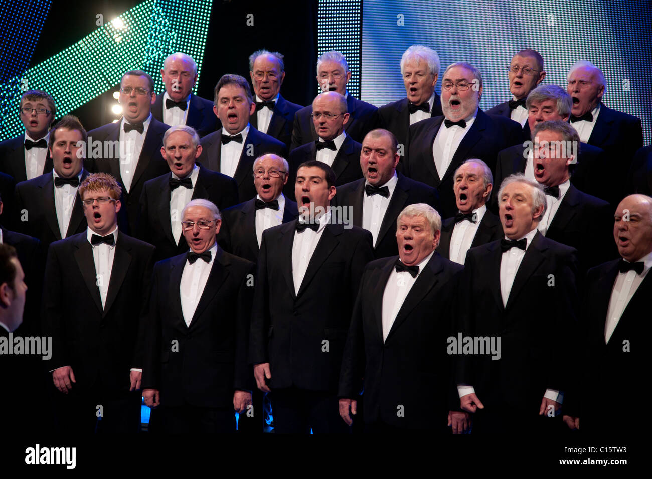 A traditional welsh male voice choir singing, Wales UK - Stock Image