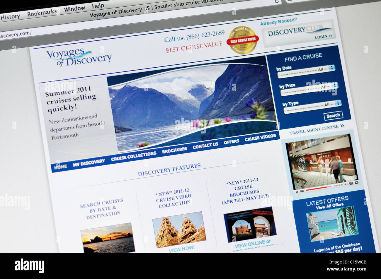 Voyages of Discovery cruises website - Stock Image