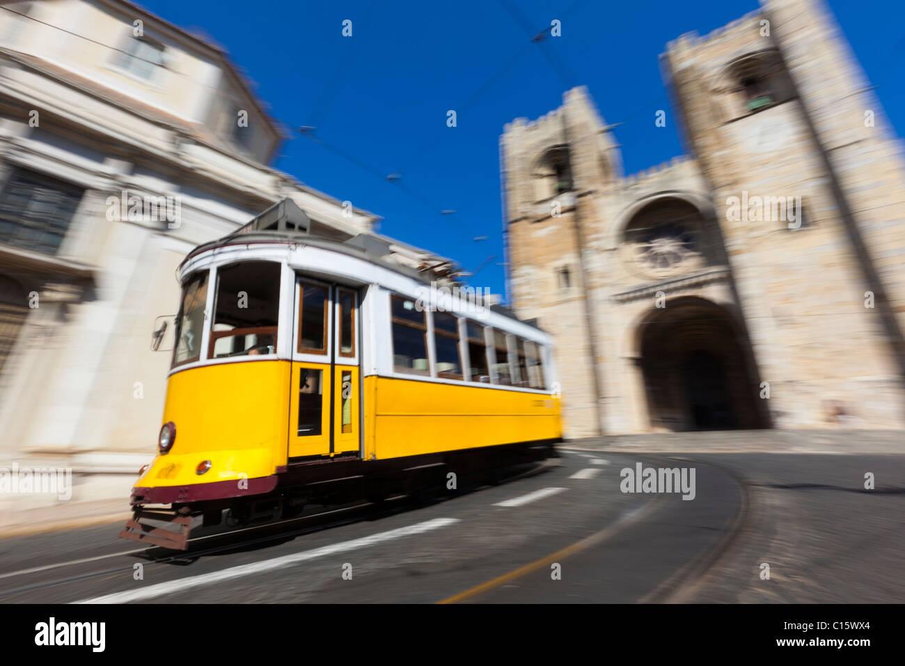 Lisbon Tram with motion blur. - Stock Image