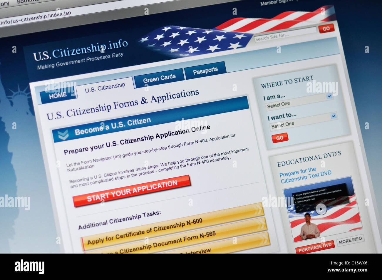 Department of Homeland Security, US Citizenship and Immigration Services, application - Stock Image