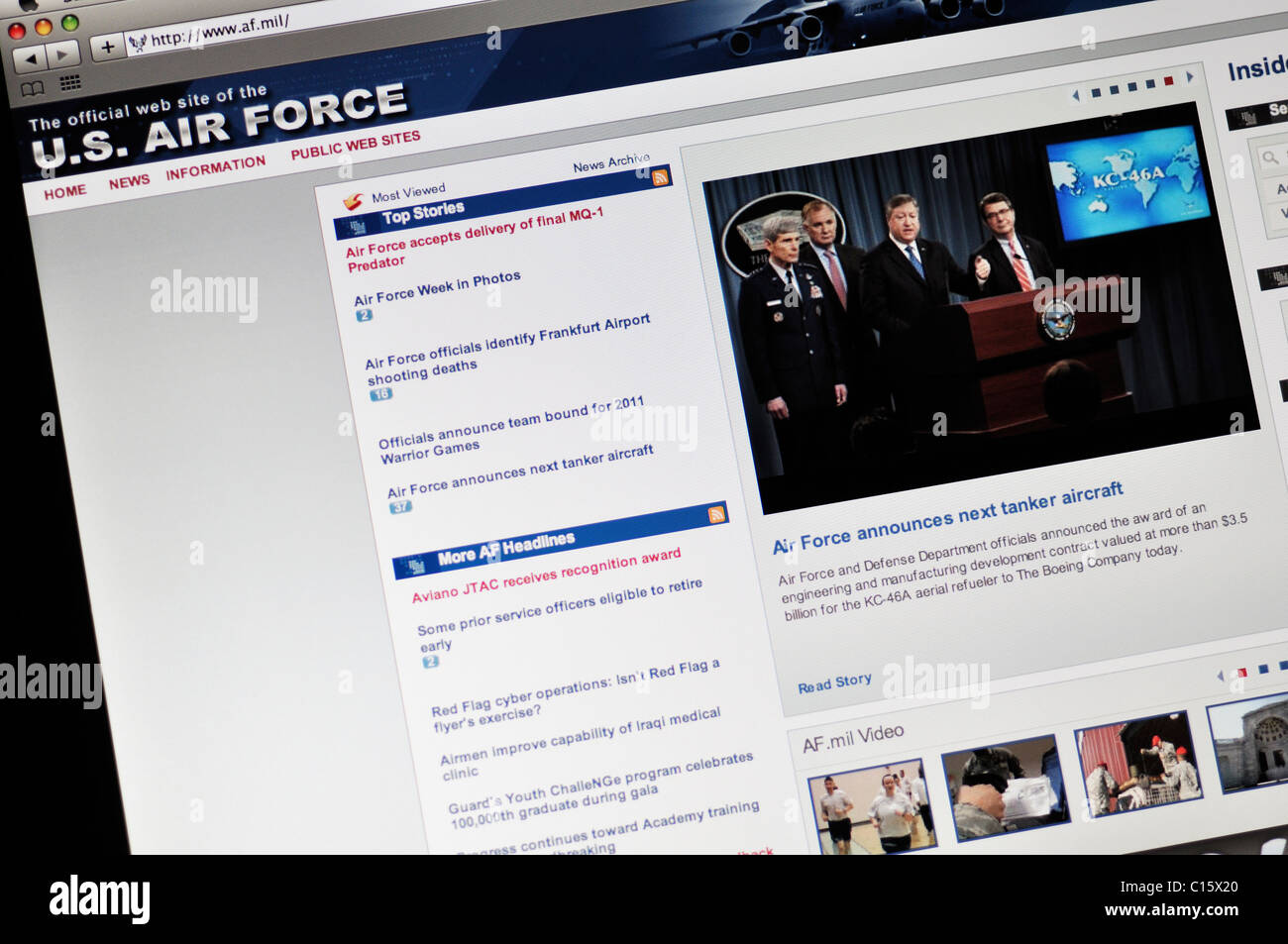 United States Air Force website - Stock Image
