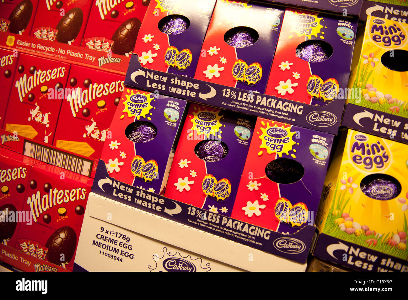 chocolate easter eggs on sale in shop, UK Stock Photo - Alamy