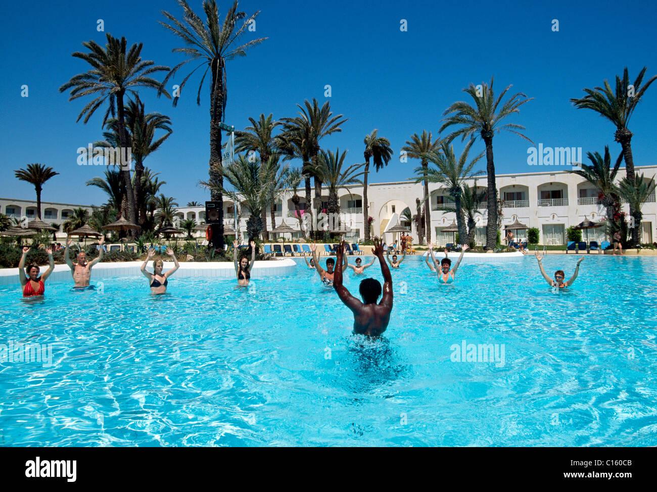 Organized entertainment, swimming pool, Iberostar Hotel, Zarzis, Djerba, Tunisia, Africa - Stock Image
