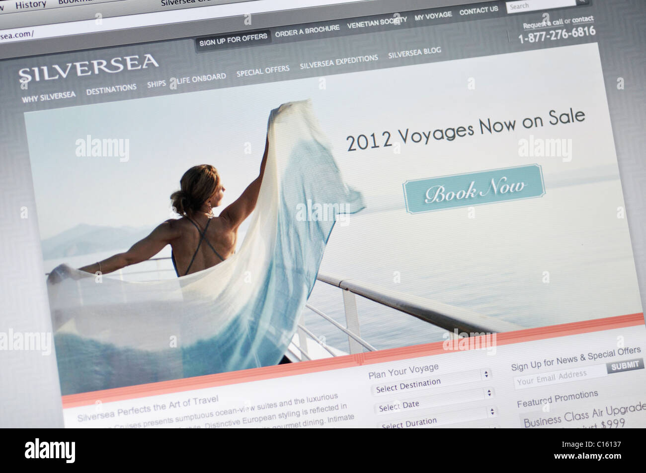 Silversea voyages cruises website - Stock Image