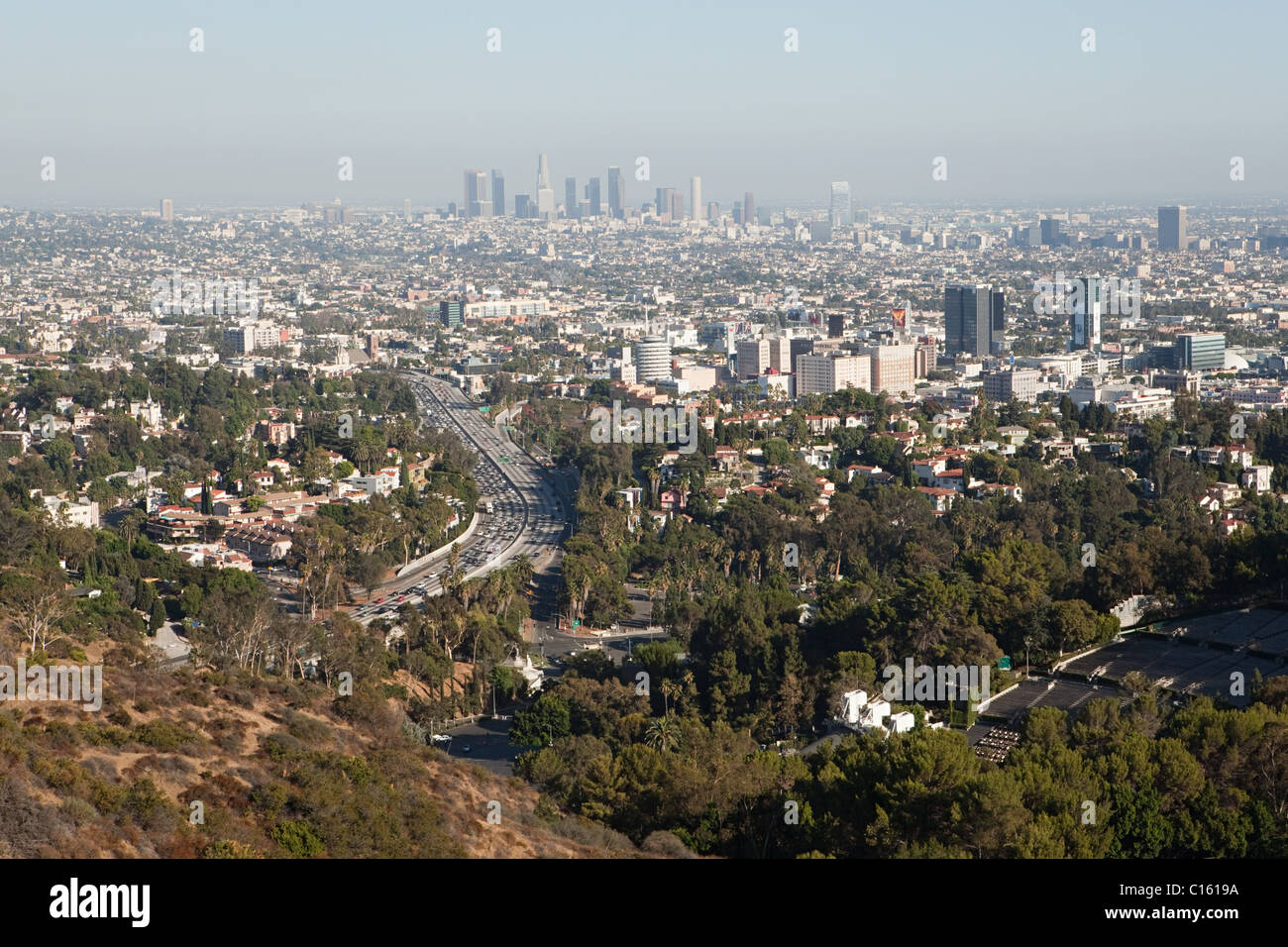 Hollywood Hills and Downtown LA, Los Angeles County, California, USA - Stock Image