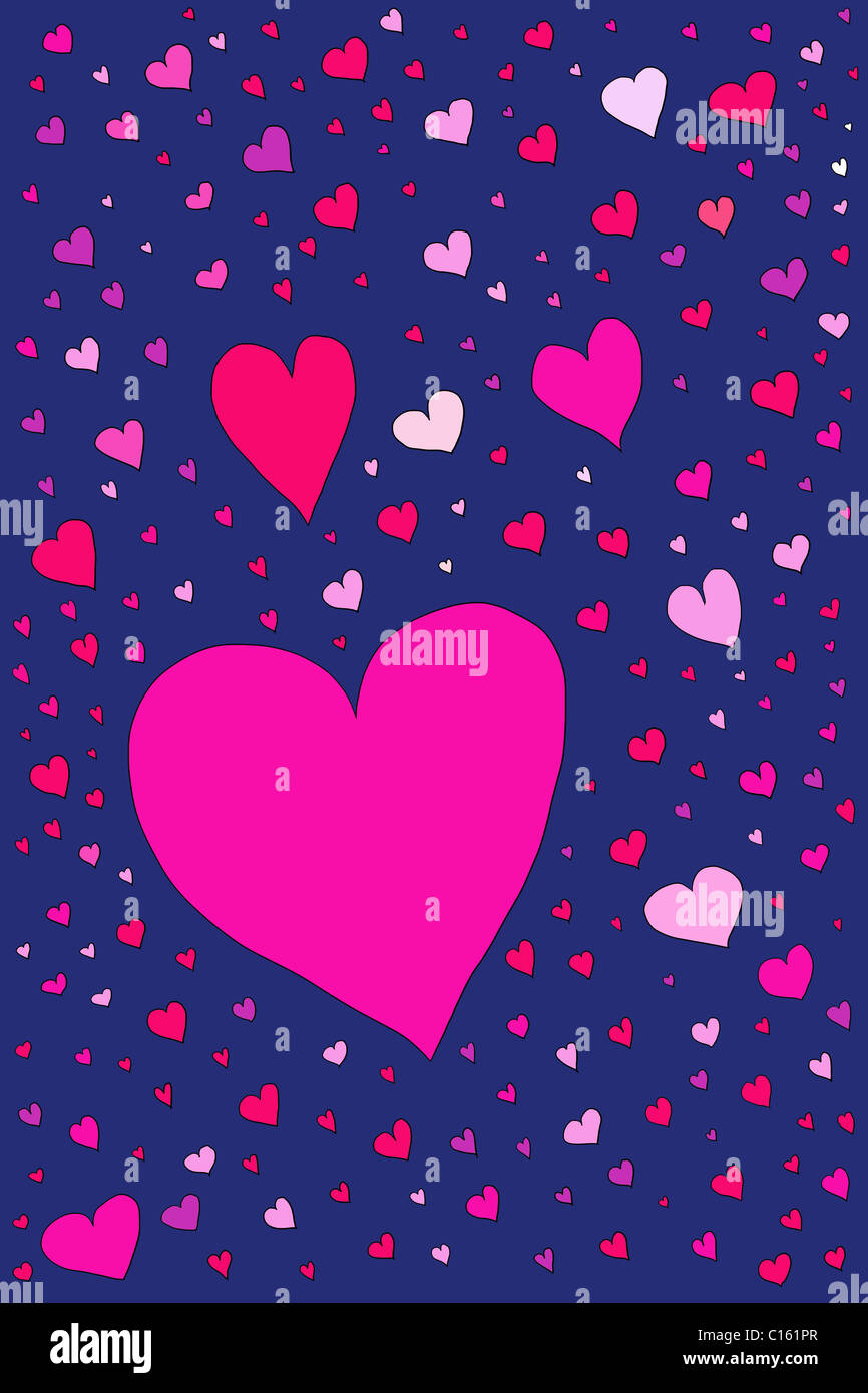Large number of heart shapes, illustration - Stock Image
