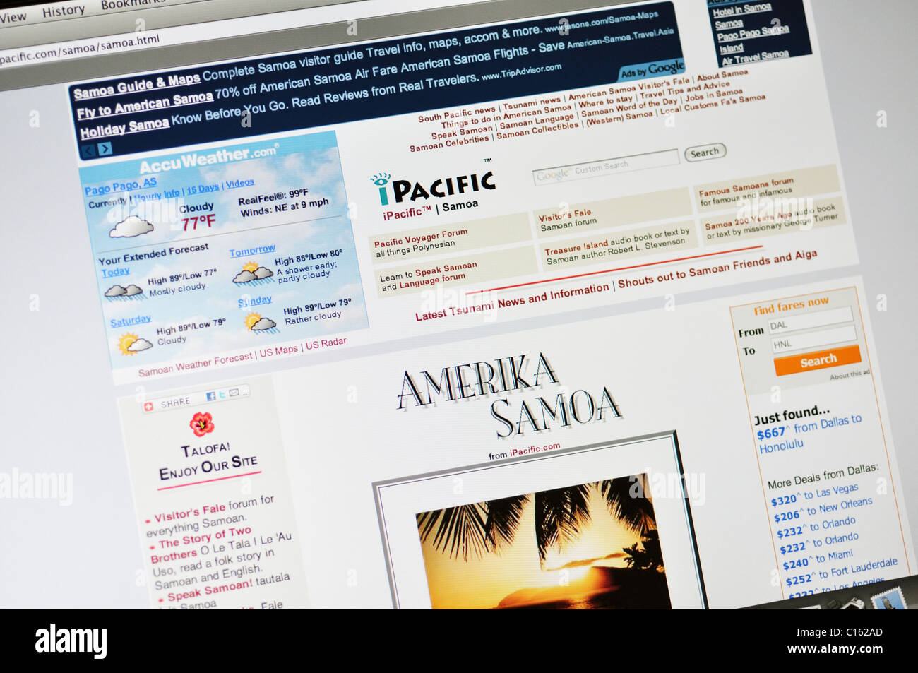 American Samoa official state tourism website - Stock Image