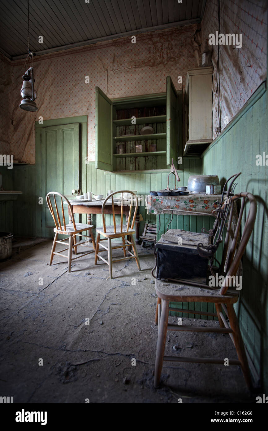 Interior shot of kitchen in bodie state historic park, California, United States - Stock Image