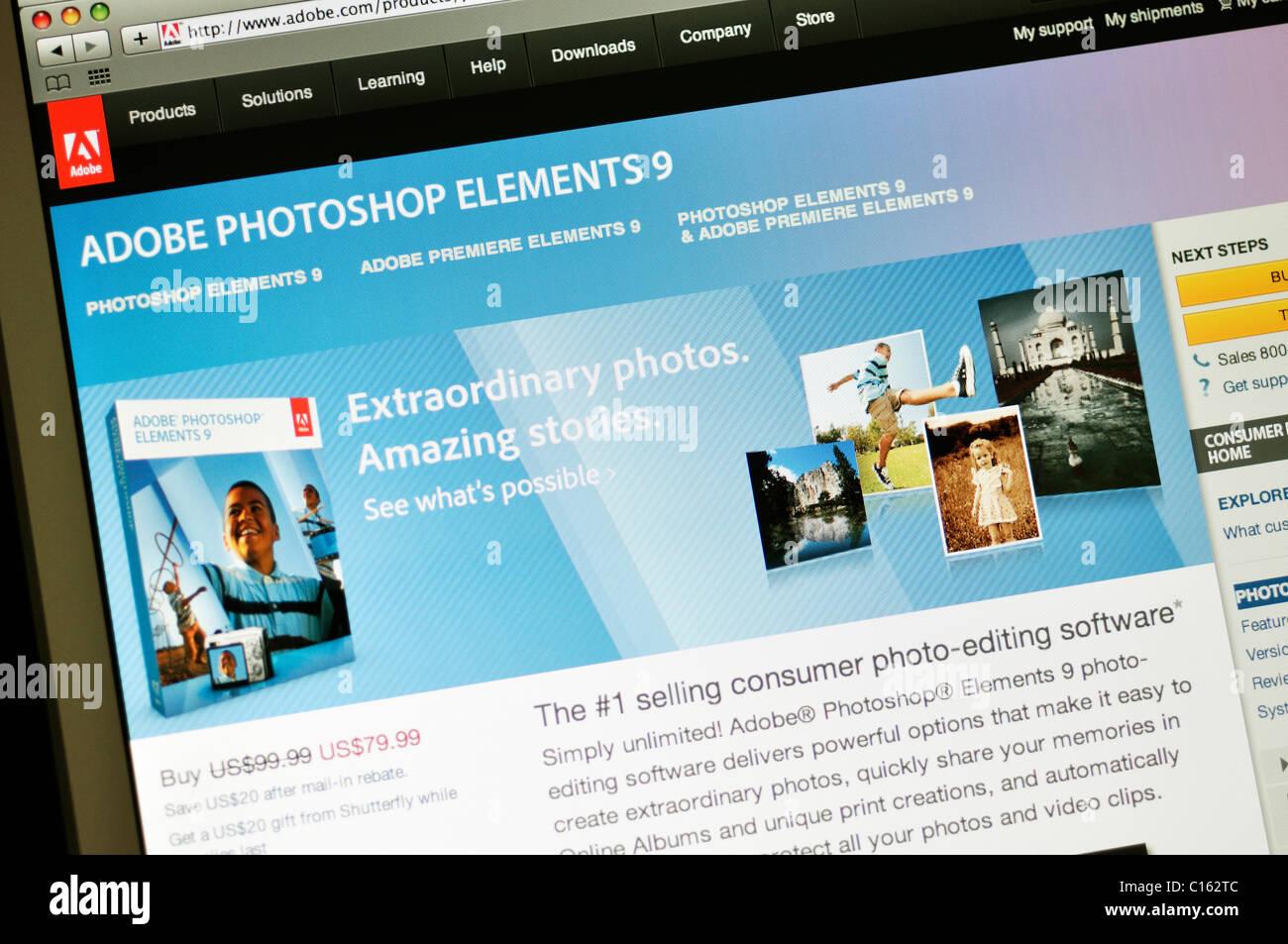 Adobe Photoshop Elements 9 website - Stock Image